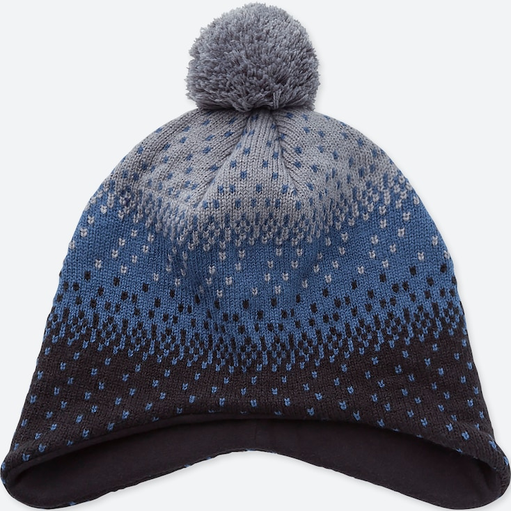 KIDS HEATTECH KNITTED CAP EAR COVER, BLUE, large