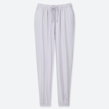 WOMEN DRAPE JOGGER PANTS, LIGHT GRAY, medium