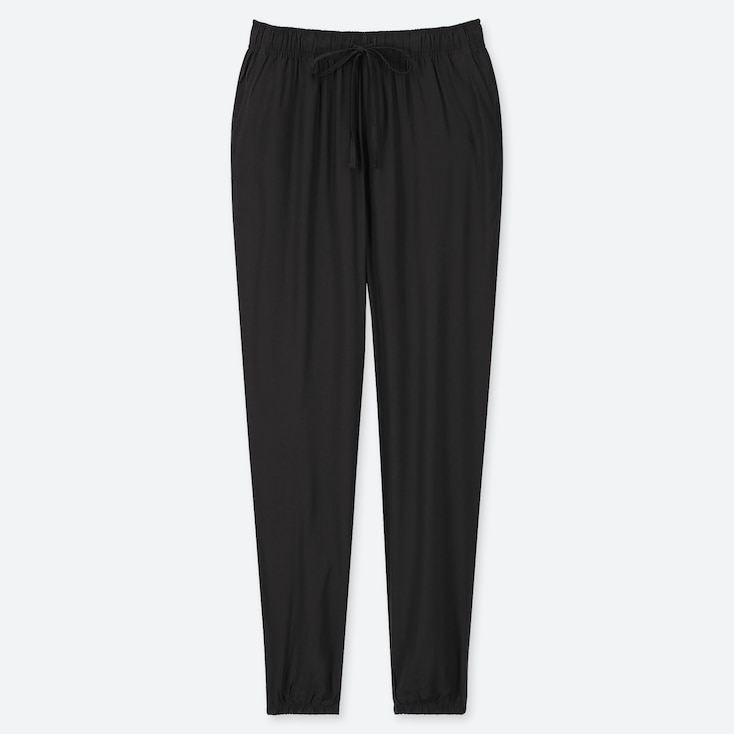 WOMEN DRAPE JOGGER PANTS, BLACK, large