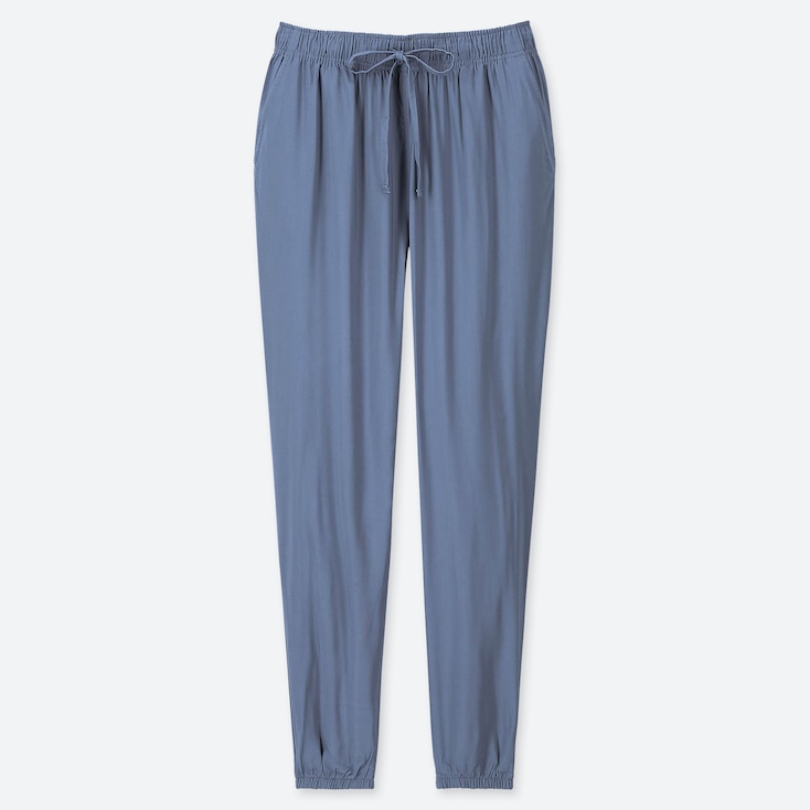 WOMEN DRAPE JOGGER PANTS, BLUE, large