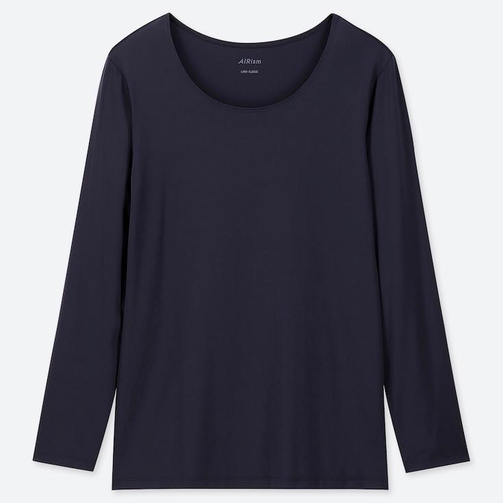 WOMEN AIRism UV-CUT CREW NECK LONG-SLEEVE T-SHIRT (ONLINE EXCLUSIVE), NAVY, large