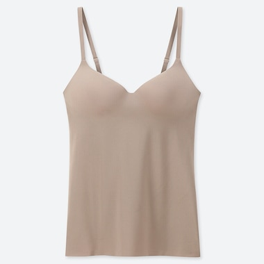 WOMEN AIRism SEAMLESS V-NECK BRA CAMISOLE, KHAKI, medium