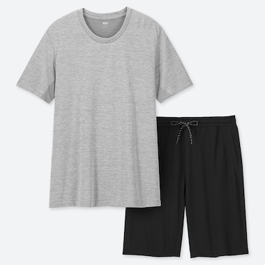 MEN AIRism SHORT-SLEEVE LOUNGE SET, GRAY, medium