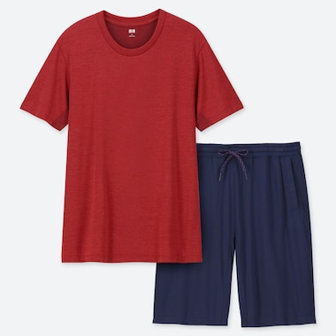 MEN AIRism SHORT-SLEEVE LOUNGE SET, RED, medium