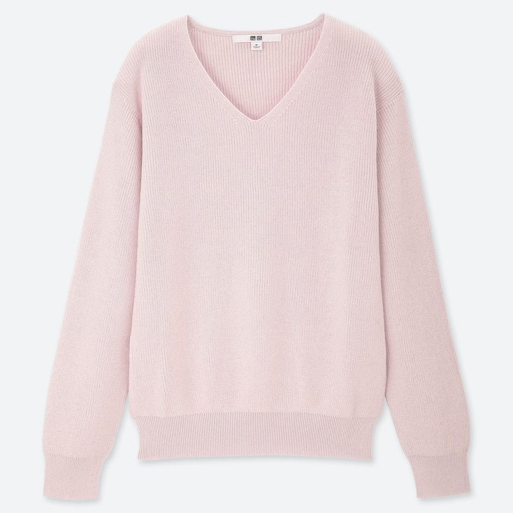 Women Cotton Cashmere V-Neck Sweater, Pink, Large