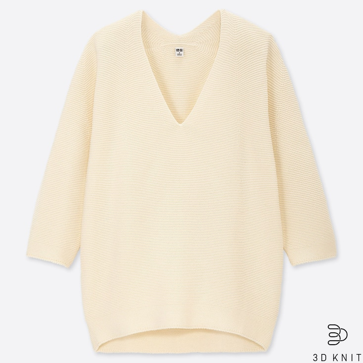 WOMEN 3D COTTON COCOON V-NECK 3/4 SLEEVE SWEATER, OFF WHITE, large