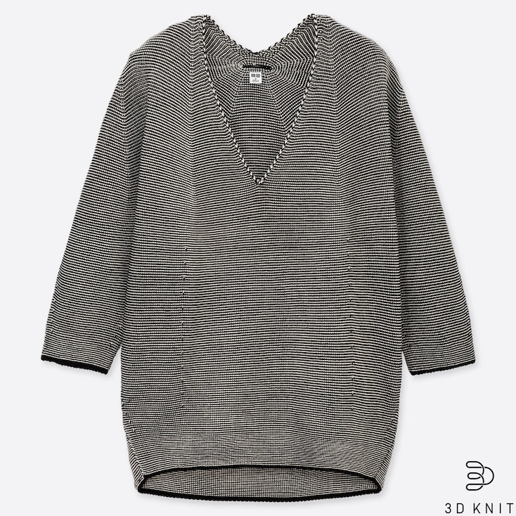 WOMEN 3D COTTON COCOON V-NECK 3/4 SLEEVE SWEATER, GRAY, large
