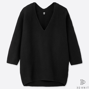 WOMEN 3D COTTON COCOON V-NECK 3/4 SLEEVE SWEATER, BLACK, medium