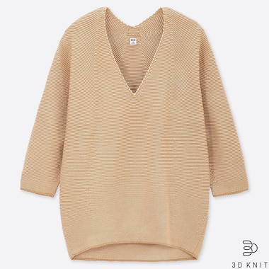WOMEN 3D COTTON COCOON V-NECK 3/4 SLEEVE SWEATER, BEIGE, medium