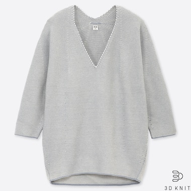 WOMEN 3D COTTON COCOON V NECK 3/4 SLEEVED JUMPER