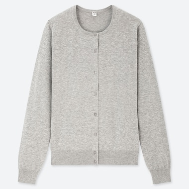 WOMEN SUPIMA COTTON CREW NECK CARDIGAN