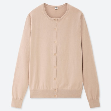 WOMEN UV CUT SUPIMA® COTTON CREW NECK CARDIGAN, NATURAL, medium