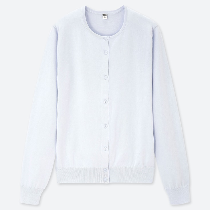 WOMEN UV CUT SUPIMA® COTTON CREW NECK CARDIGAN, LIGHT BLUE, large