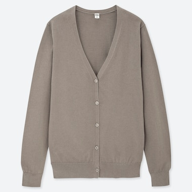 WOMEN SUPIMA COTTON V NECK CARDIGAN