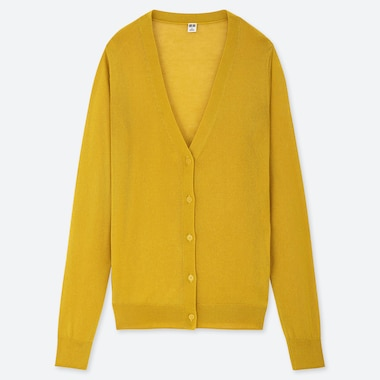 WOMEN LIGHT V-NECK CARDIGAN, YELLOW, medium