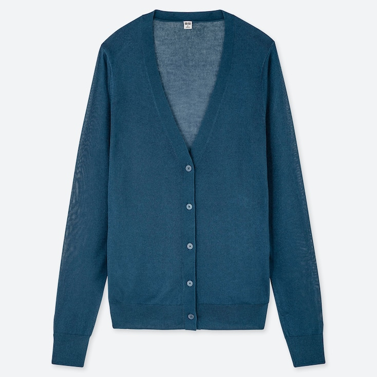 WOMEN LIGHT V-NECK CARDIGAN, BLUE, large