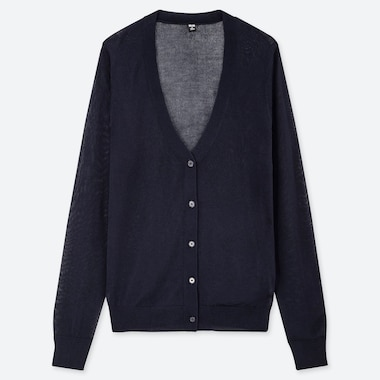 WOMEN LIGHT V-NECK CARDIGAN, NAVY, medium