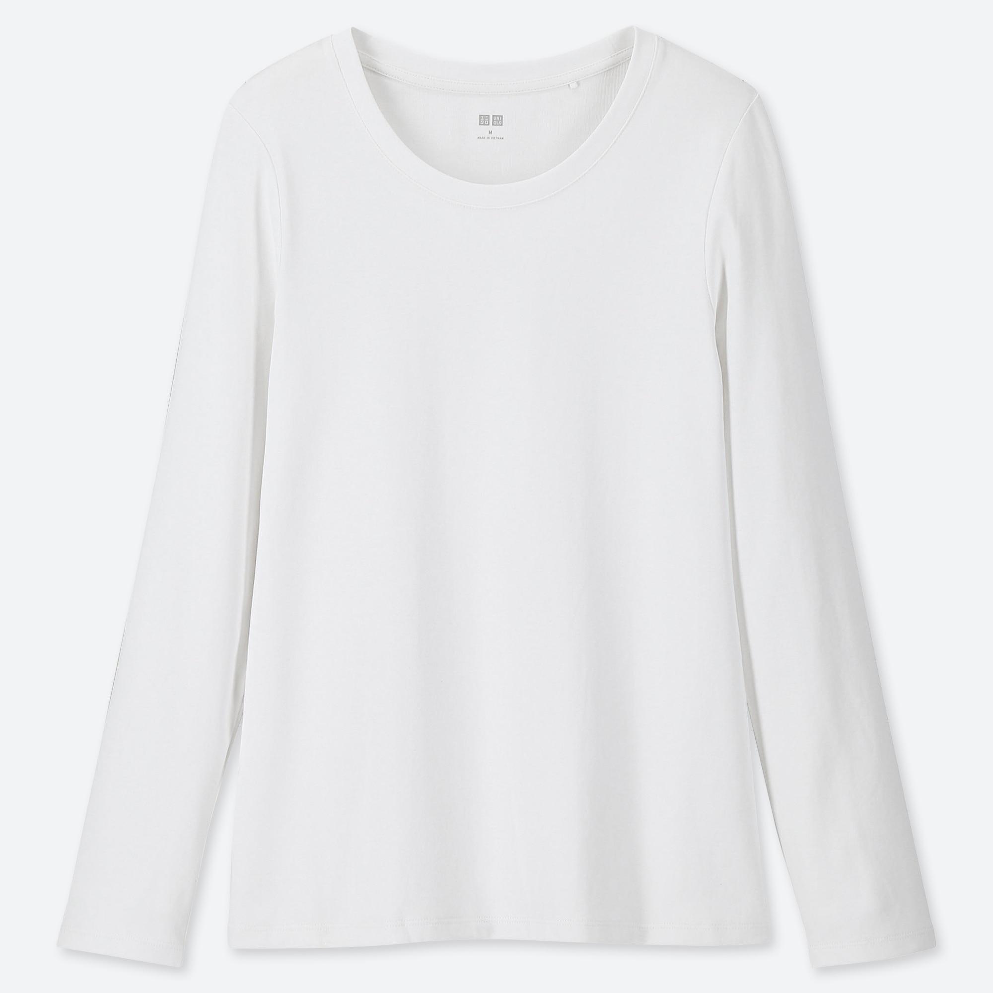 WOMEN 1*1 RIBBED COTTON CREW NECK LONG-SLEEVE T-SHIRT