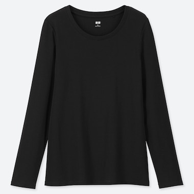 WOMEN 1*1 RIBBED COTTON CREW NECK LONG-SLEEVE T-SHIRT, BLACK, medium