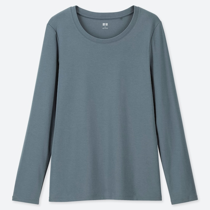 WOMEN 1*1 RIBBED COTTON CREW NECK LONG-SLEEVE T-SHIRT, GREEN, large