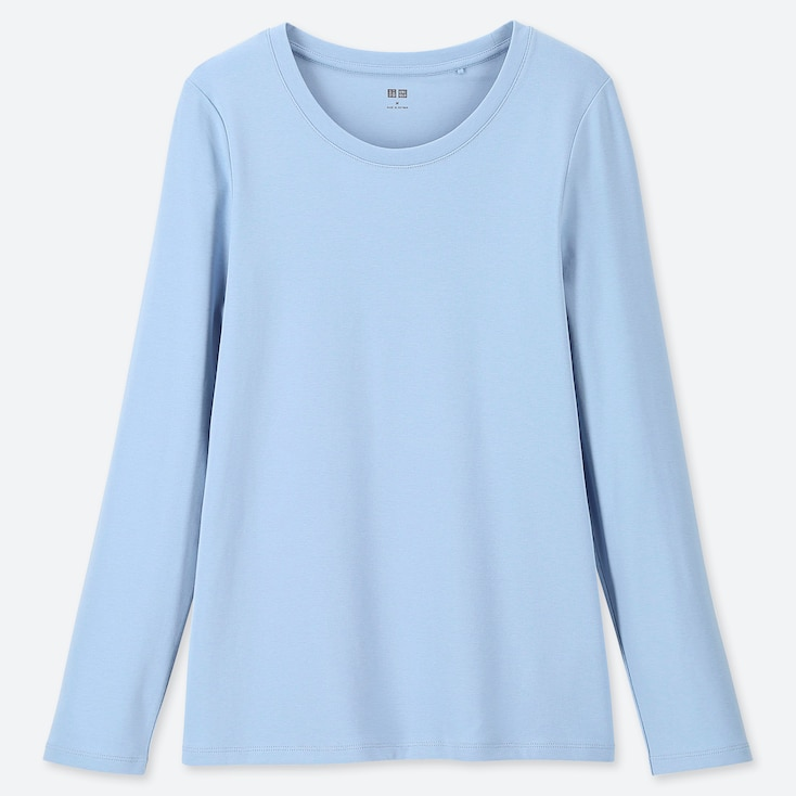 WOMEN 1*1 RIBBED COTTON CREW NECK LONG-SLEEVE T-SHIRT, BLUE, large