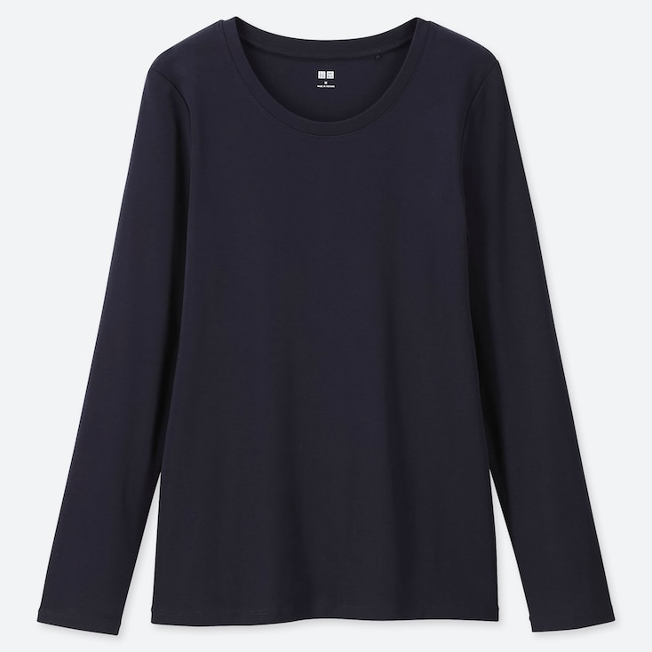 WOMEN 1*1 RIBBED COTTON CREW NECK LONG-SLEEVE T-SHIRT, NAVY, large