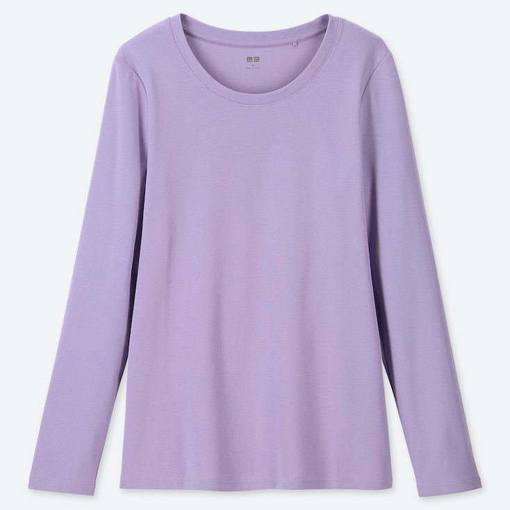 WOMEN 1*1 RIBBED COTTON CREW NECK LONG-SLEEVE T-SHIRT, PURPLE, large