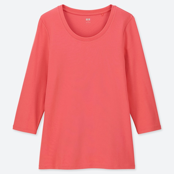 WOMEN 1*1 RIBBED COTTON CREW NECK 3/4 SLEEVE T-SHIRT, PINK, large