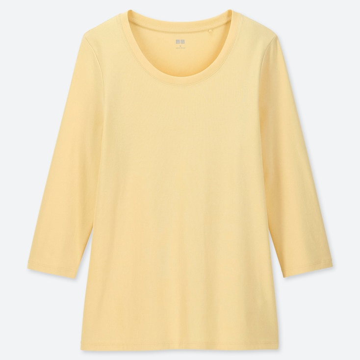 WOMEN 1*1 RIBBED COTTON CREW NECK 3/4 SLEEVE T-SHIRT, YELLOW, large