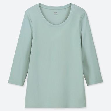 WOMEN 1*1 RIBBED COTTON CREW NECK 3/4 SLEEVE T-SHIRT, LIGHT GREEN, medium