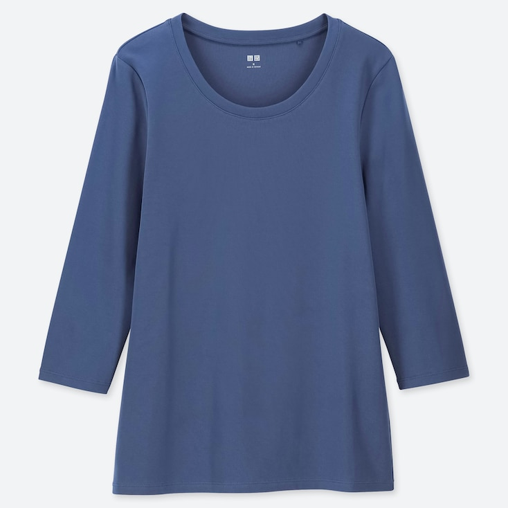WOMEN 1*1 RIBBED COTTON CREW NECK 3/4 SLEEVE T-SHIRT, BLUE, large