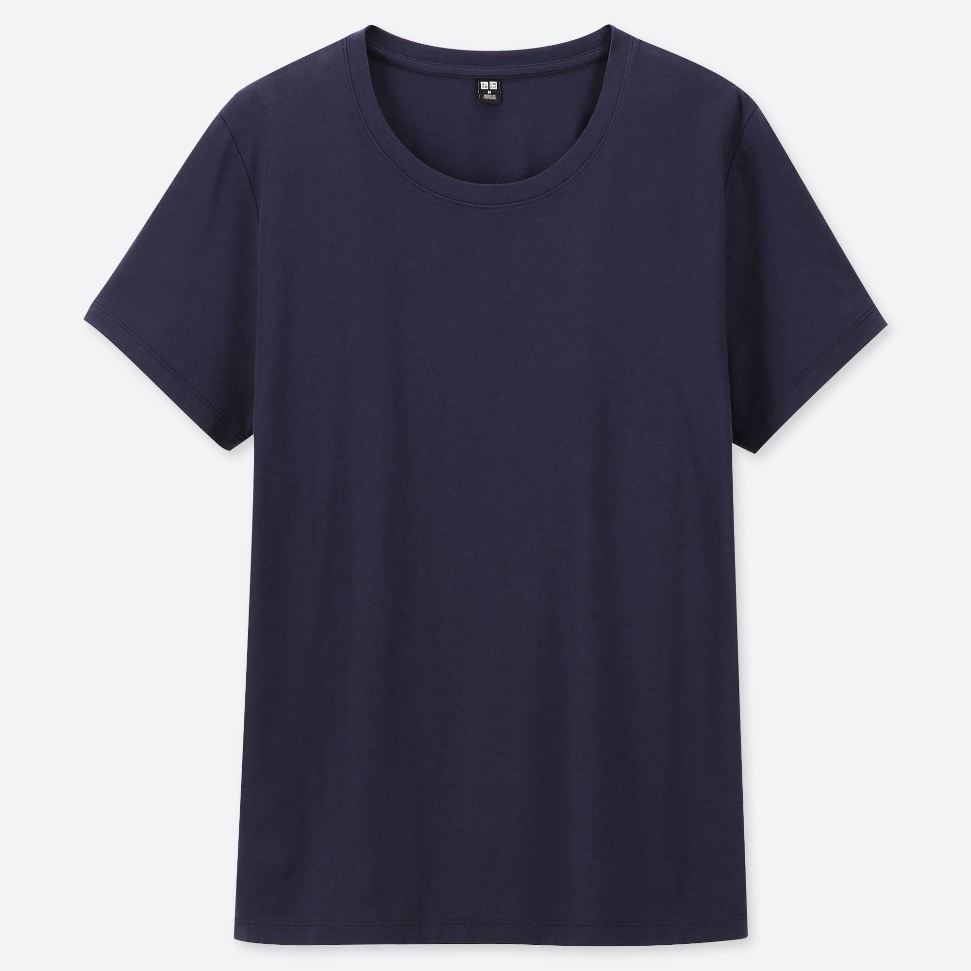 Women 100% Supima Cotton Crew Neck Short Sleeved T Shirt