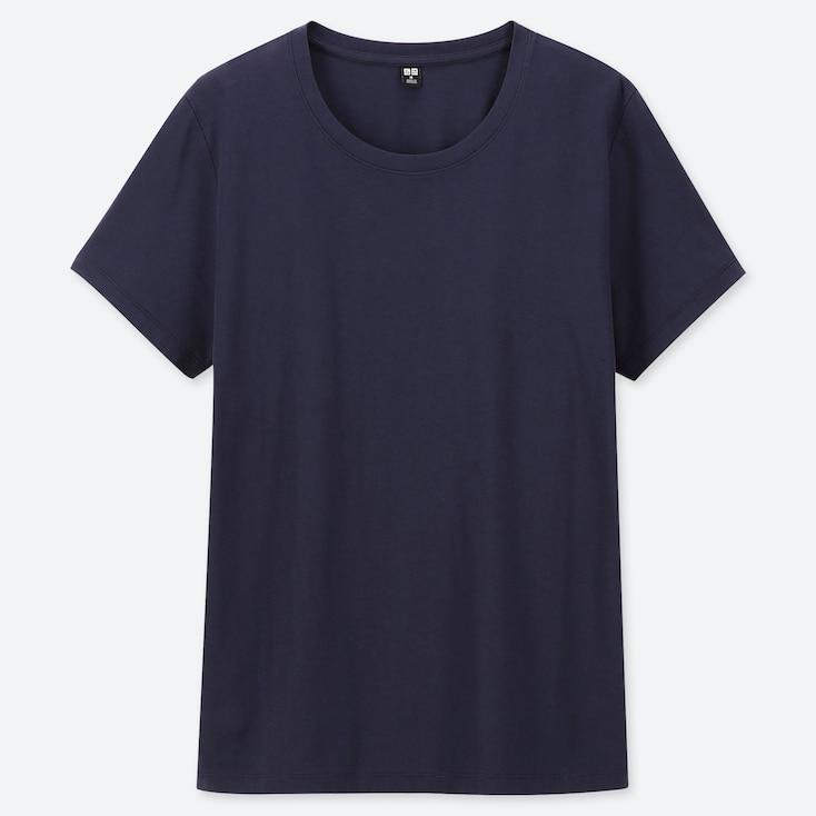 WOMEN SUPIMA® COTTON CREW NECK SHORT-SLEEVE T-SHIRT, NAVY, large