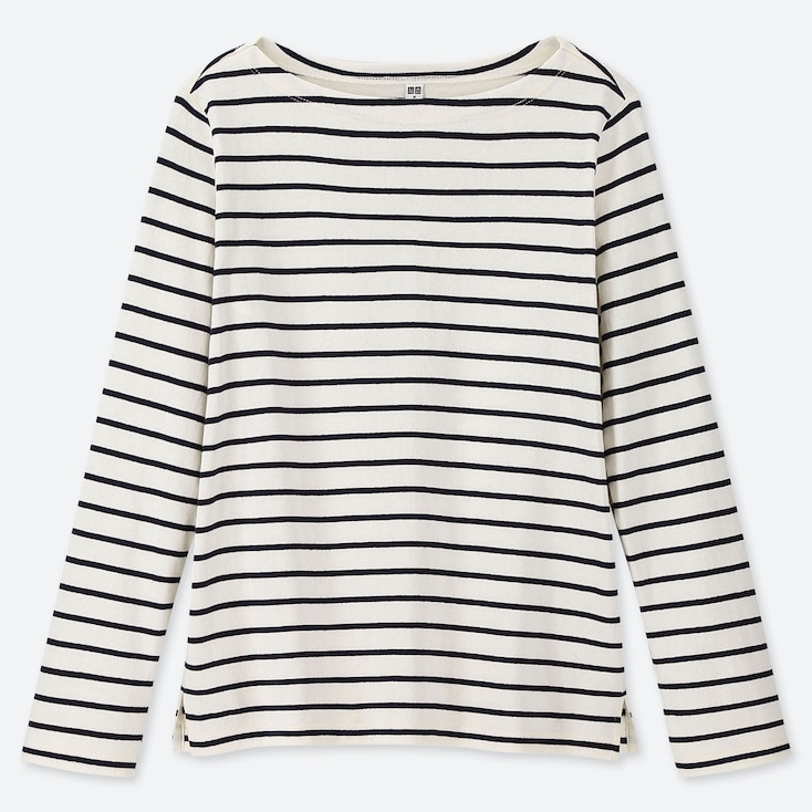 WOMEN STRIPED BOAT NECK LONG-SLEEVE T-SHIRT, OFF WHITE, large