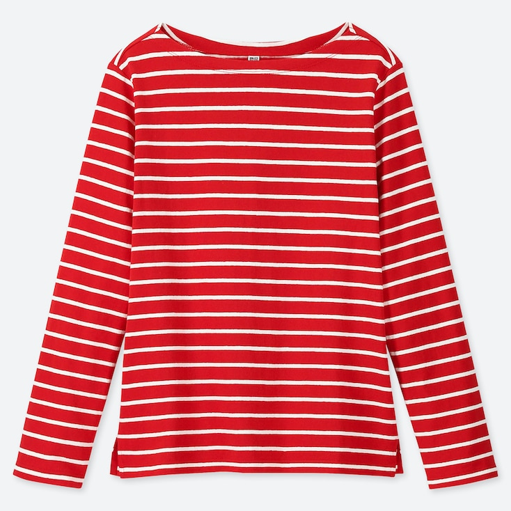 WOMEN STRIPED BOAT NECK LONG-SLEEVE T-SHIRT, RED, large
