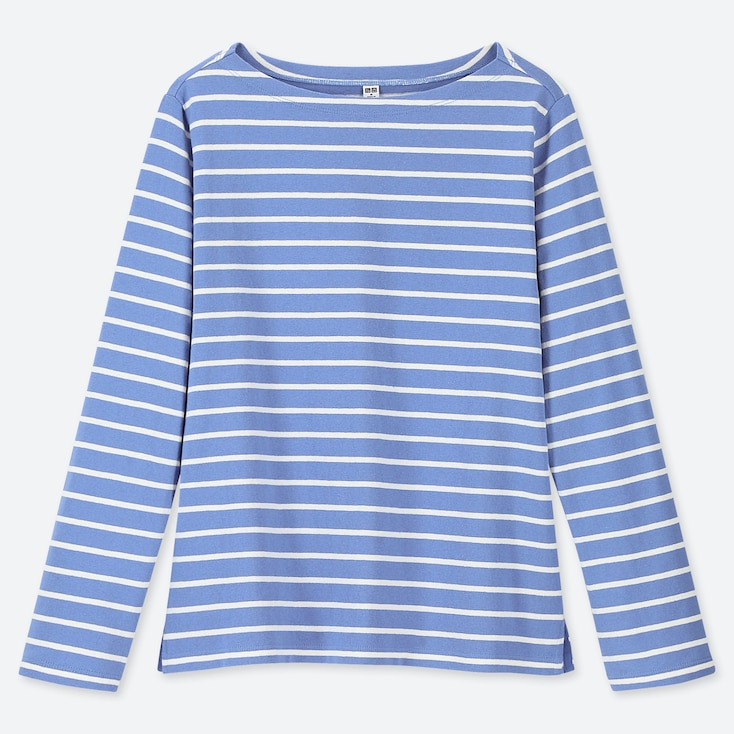 WOMEN STRIPED BOAT NECK LONG-SLEEVE T-SHIRT, BLUE, large