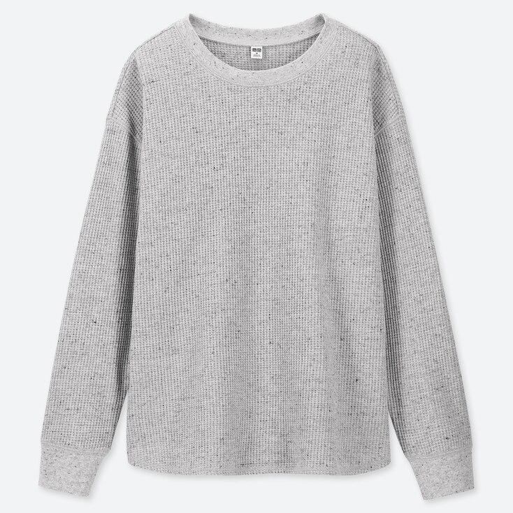 WOMEN WAFFLE CREW NECK LONG-SLEEVE T-SHIRT, GRAY, large