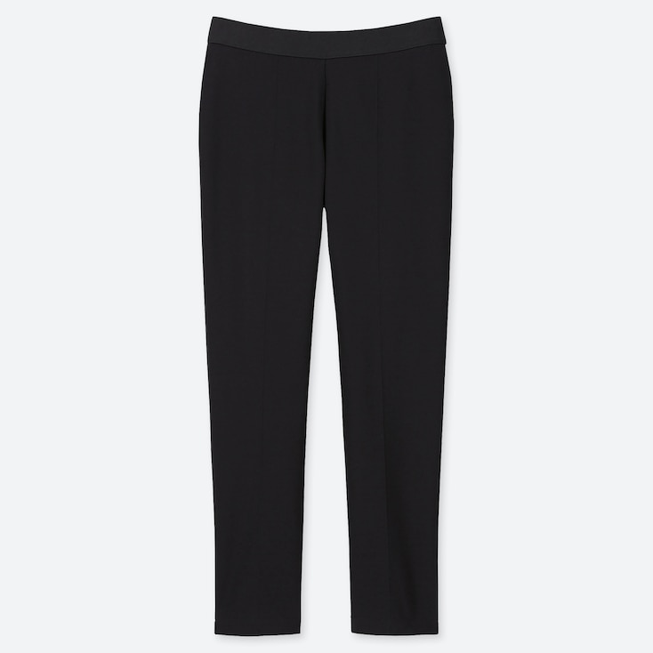 WOMEN PONTE SLIM PANTS, BLACK, large