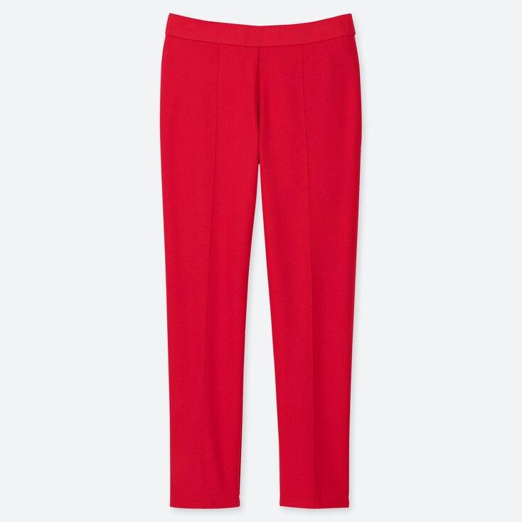 WOMEN PONTE SLIM PANTS, RED, large