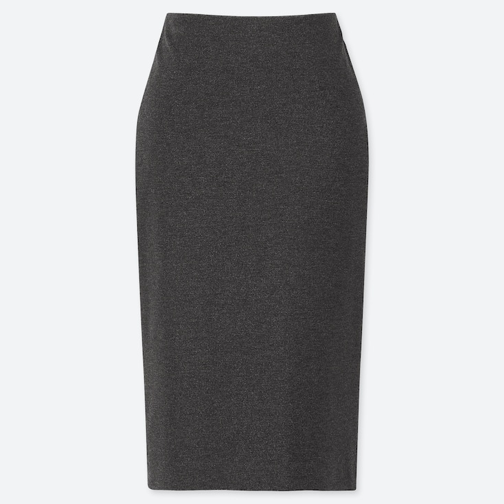 WOMEN PONTE PENCIL SKIRT, DARK GRAY, large