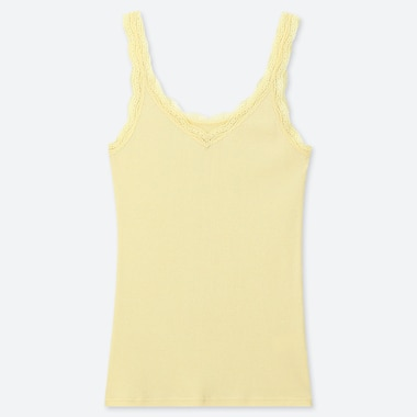 WOMEN 2-WAY RIBBED LACE TANK TOP, YELLOW, medium