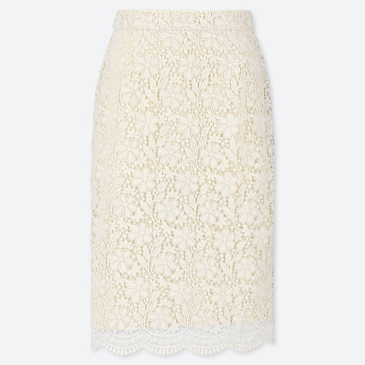 WOMEN LACE SKIRT, OFF WHITE, large