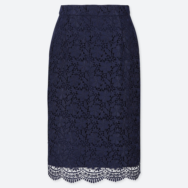 WOMEN LACE SKIRT, NAVY, large