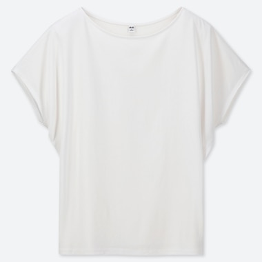 Women Drape Crew Neck Short-Sleeve T-Shirt, White, Medium