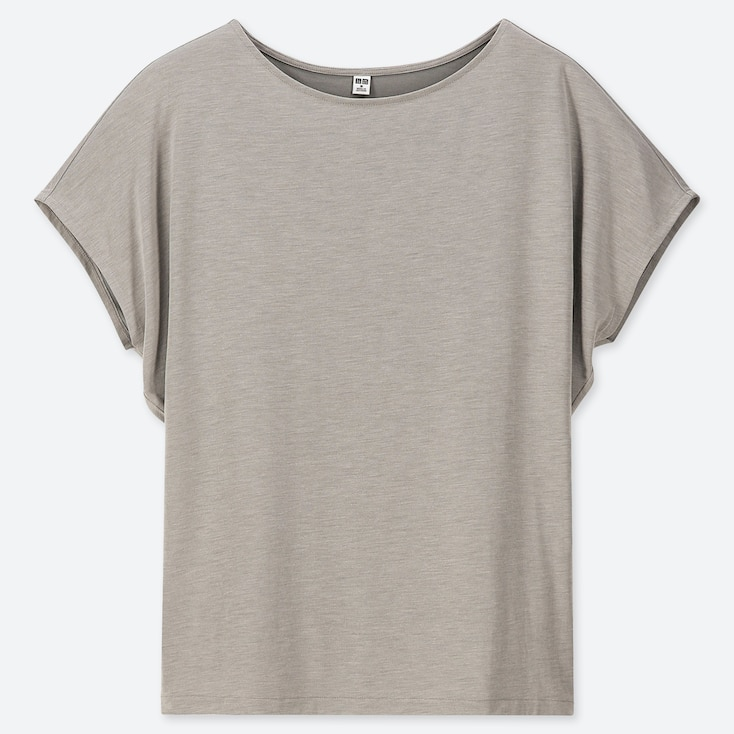 WOMEN DRAPE CREW NECK SHORT-SLEEVE T-SHIRT, GRAY, large