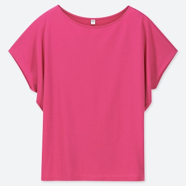 WOMEN DRAPE CREW NECK SHORT-SLEEVE T-SHIRT, PINK, medium