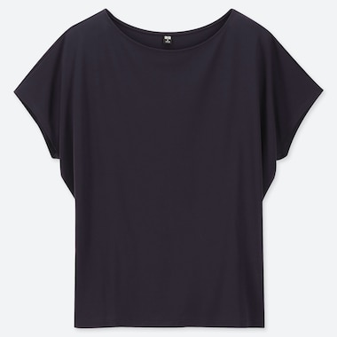 WOMEN DRAPE CREW NECK SHORT-SLEEVE T-SHIRT, NAVY, medium