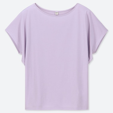 WOMEN DRAPE CREW NECK SHORT-SLEEVE T-SHIRT, LIGHT PURPLE, medium