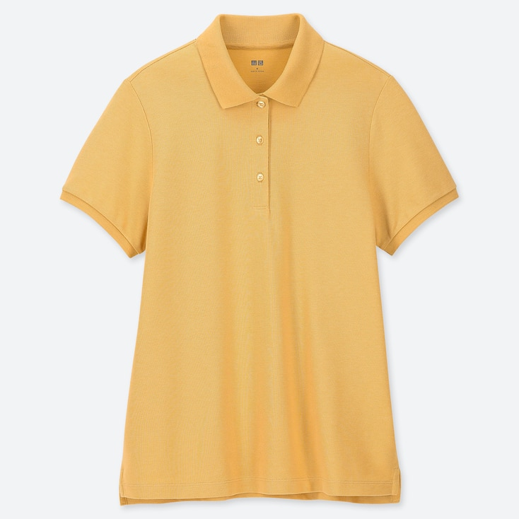 WOMEN STRETCH PIQUE SHORT-SLEEVE POLO SHIRT, YELLOW, large