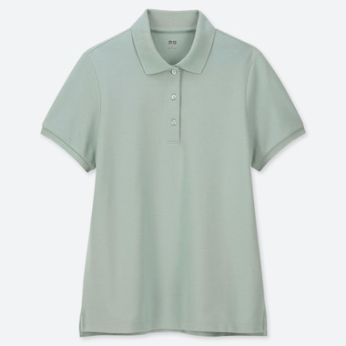 d7798a8f WOMEN STRETCH PIQUE SHORT-SLEEVE POLO SHIRT, GREEN, medium